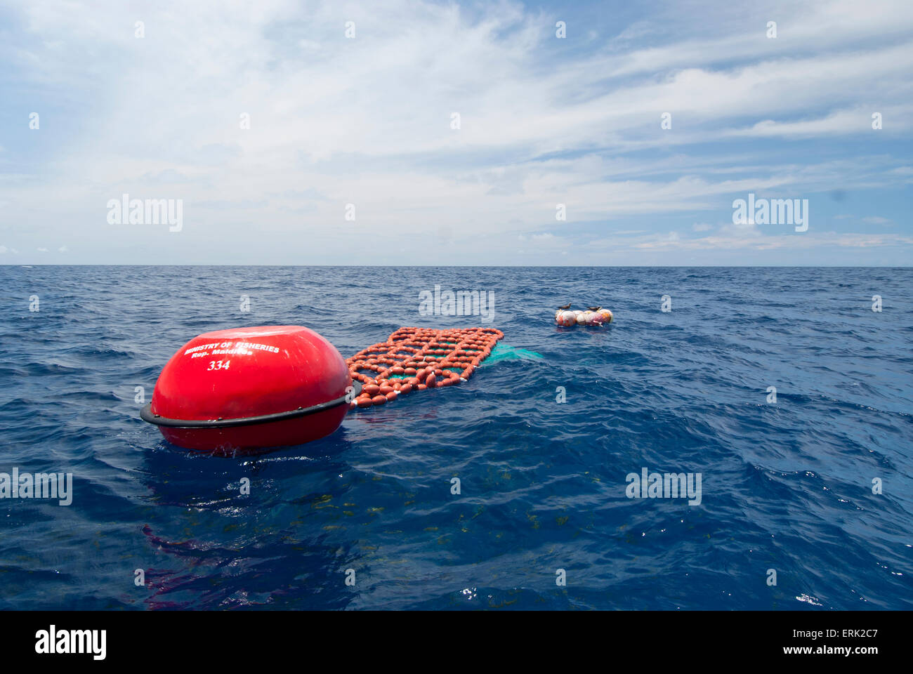 Fish Aggregation Device, Surface buoy, South Male Atoll, Maldives - Stock Image
