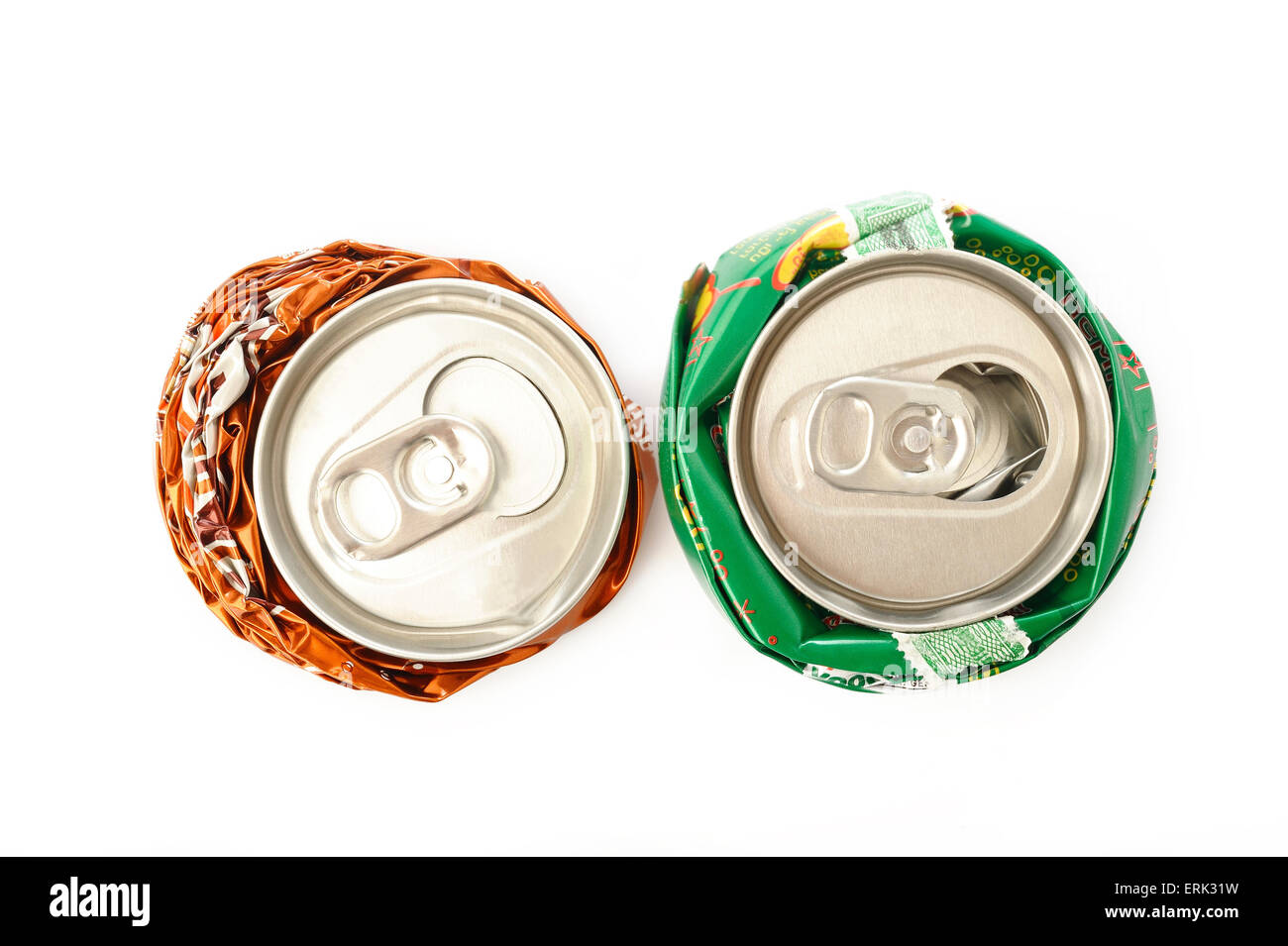 recycle aluminum cans on white background - Stock Image