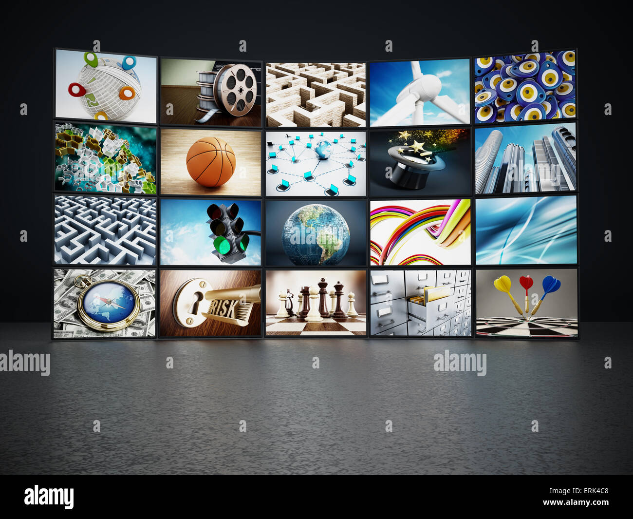 Video wall containing images from my portfolio. - Stock Image