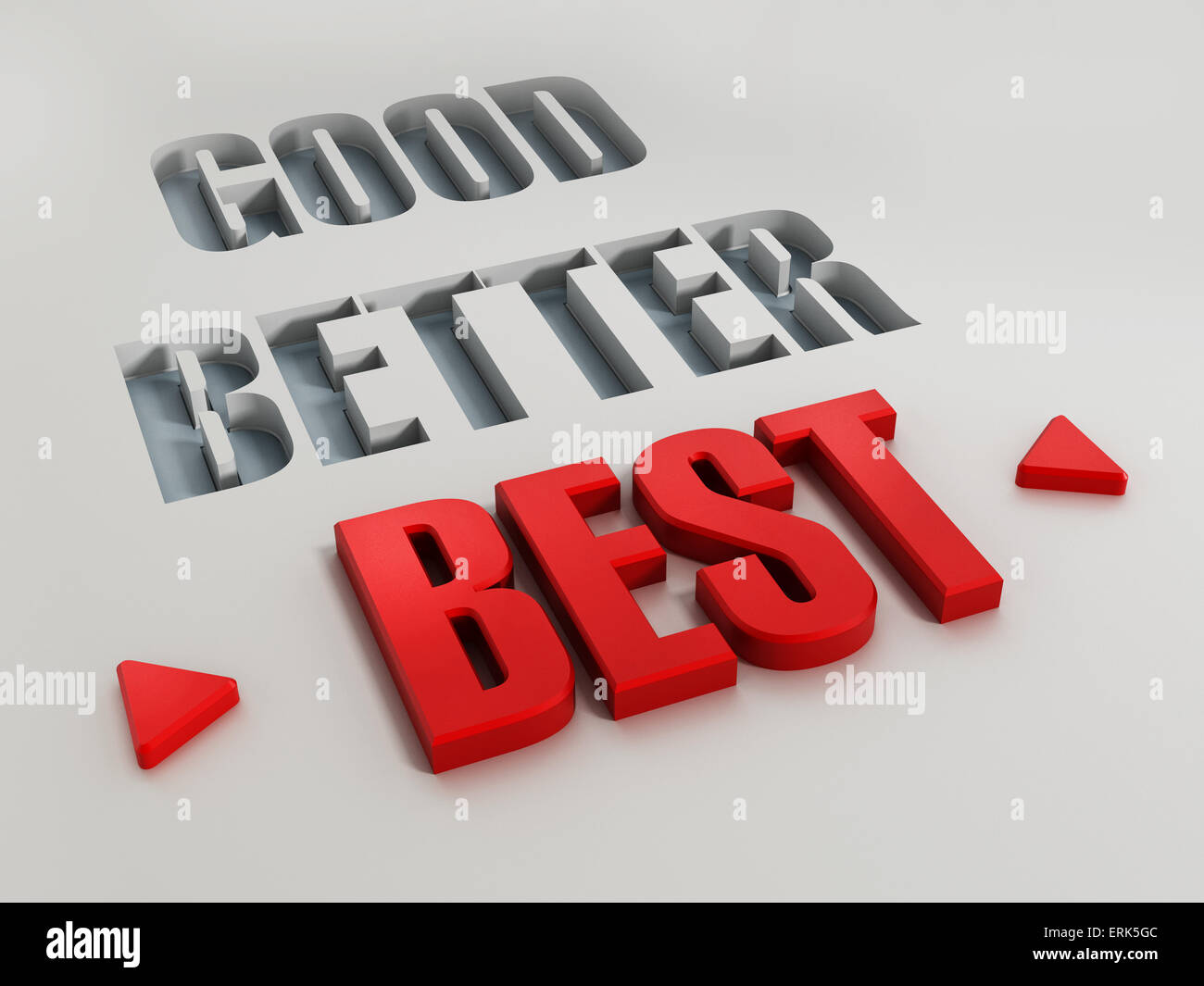 Good, better and best words with highlighted red best. - Stock Image