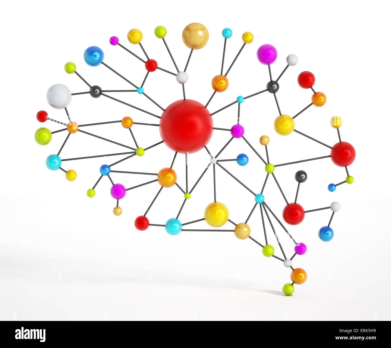 Brain network with colorful connected dots. - Stock Image