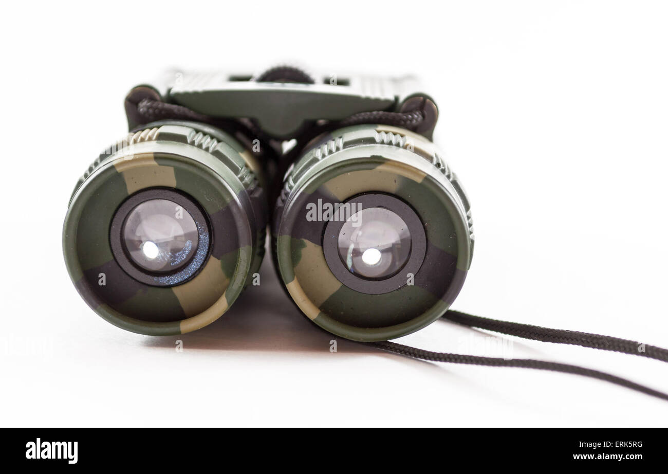 Close-up of camouflage style binoculars for modern day hunters and nature watchers - Stock Image