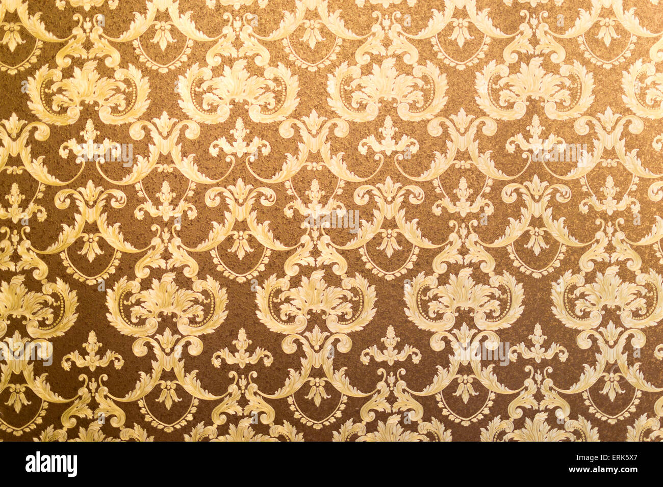 French Style Floral Wallpaper In Gilded Gold And Brown