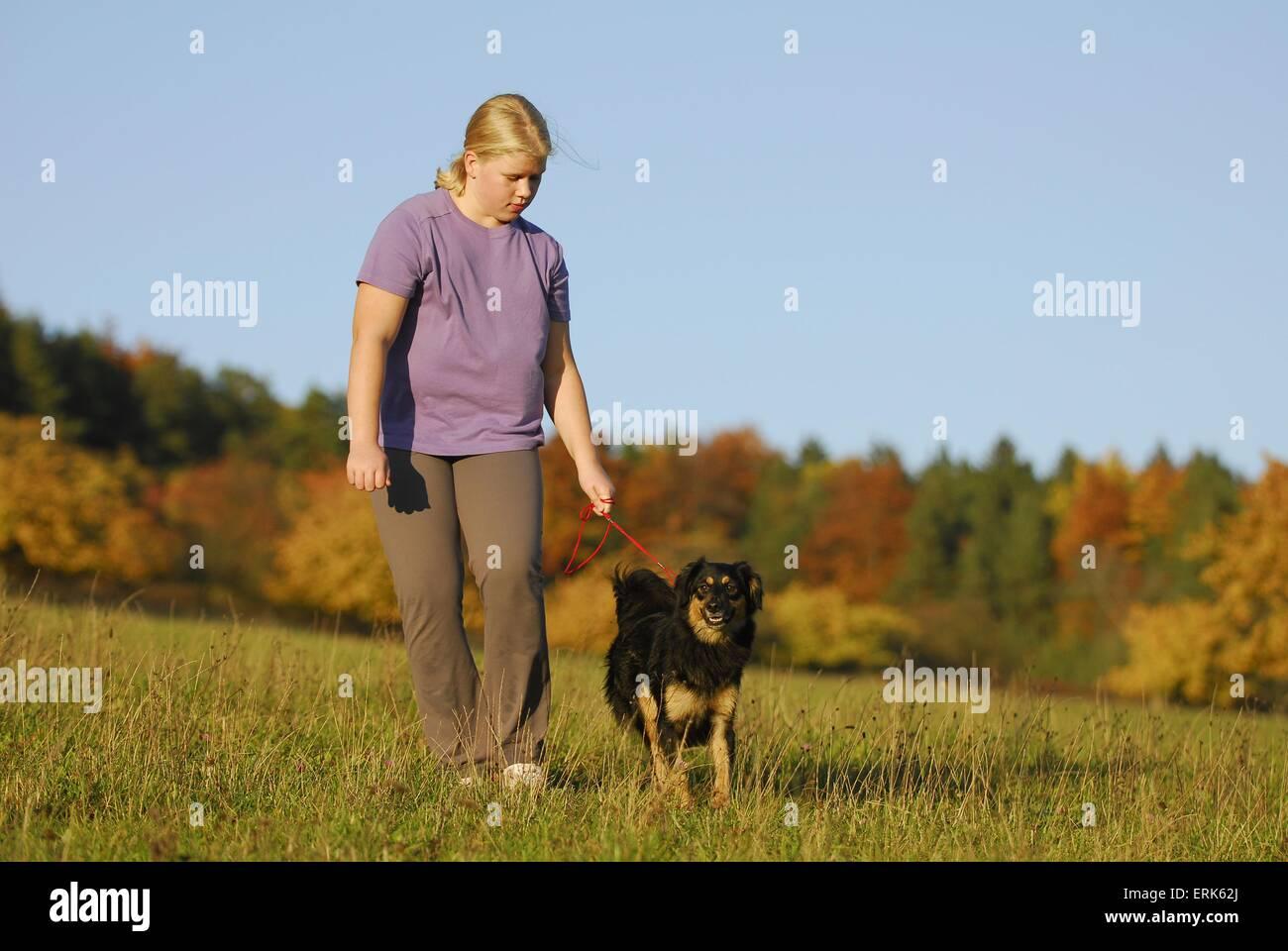 girl with dog - Stock Image