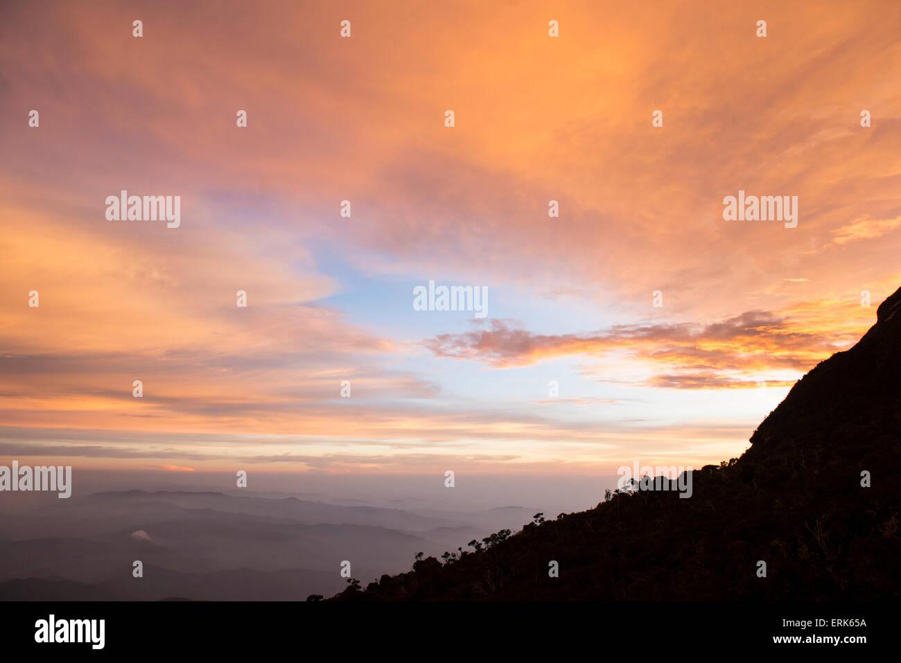 Sunset, Mount Kinabalu, Sabah, Borneo, Malaysia - Stock Image