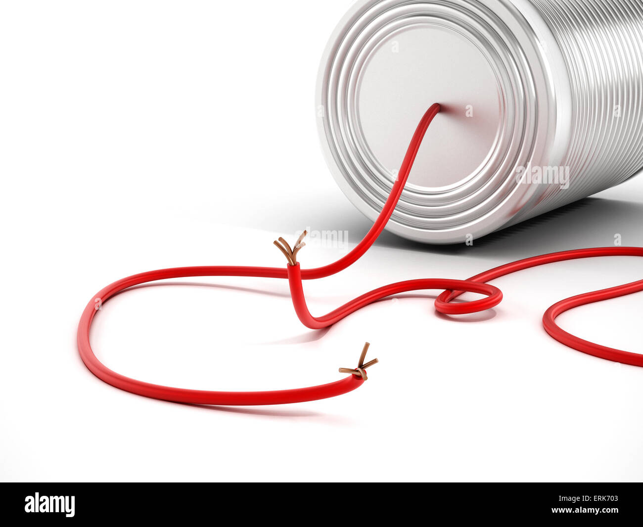 Communication breakdown with tin can having a disconnected cable - Stock Image