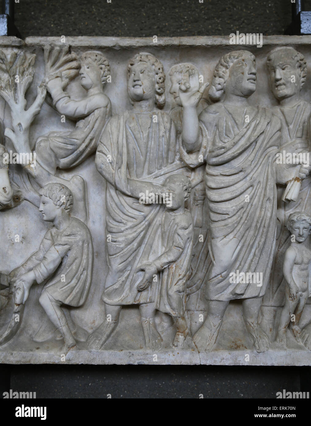 Roman sarcophagus. Early Christian. 4th c. Detail. Jesus healing blind man. Vatican Museums. Vatican City State. - Stock Image