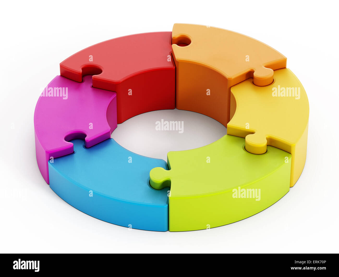 Jigsaw puzzle pieces attached to each other forming a circle. - Stock Image