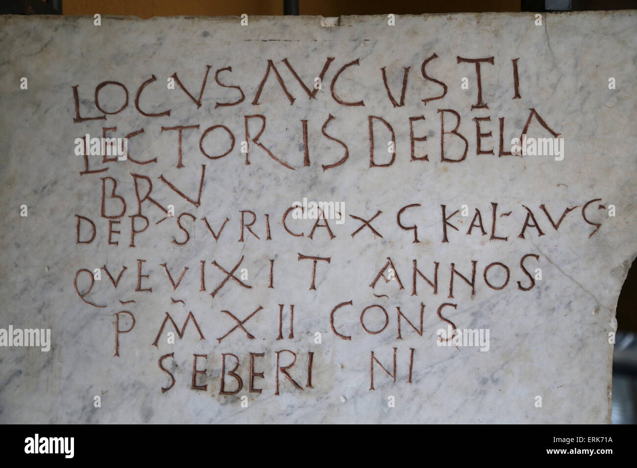 Roman tombstone. Early Christian. Epitaph. Latin inscription. Vatican Museums. 3rd-4th century. - Stock Image