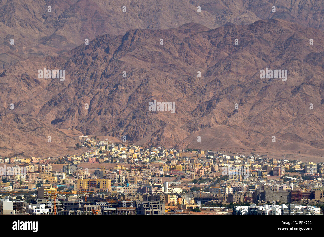 AQABA, JOR - APR 16 2015:Aqaba cityscape. Aqaba is the largest city and Jordan's only coastal city. It's - Stock Image