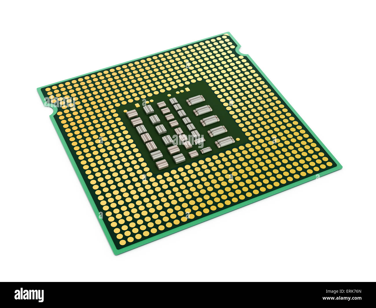 Computer microprocessor isolated on white background. - Stock Image