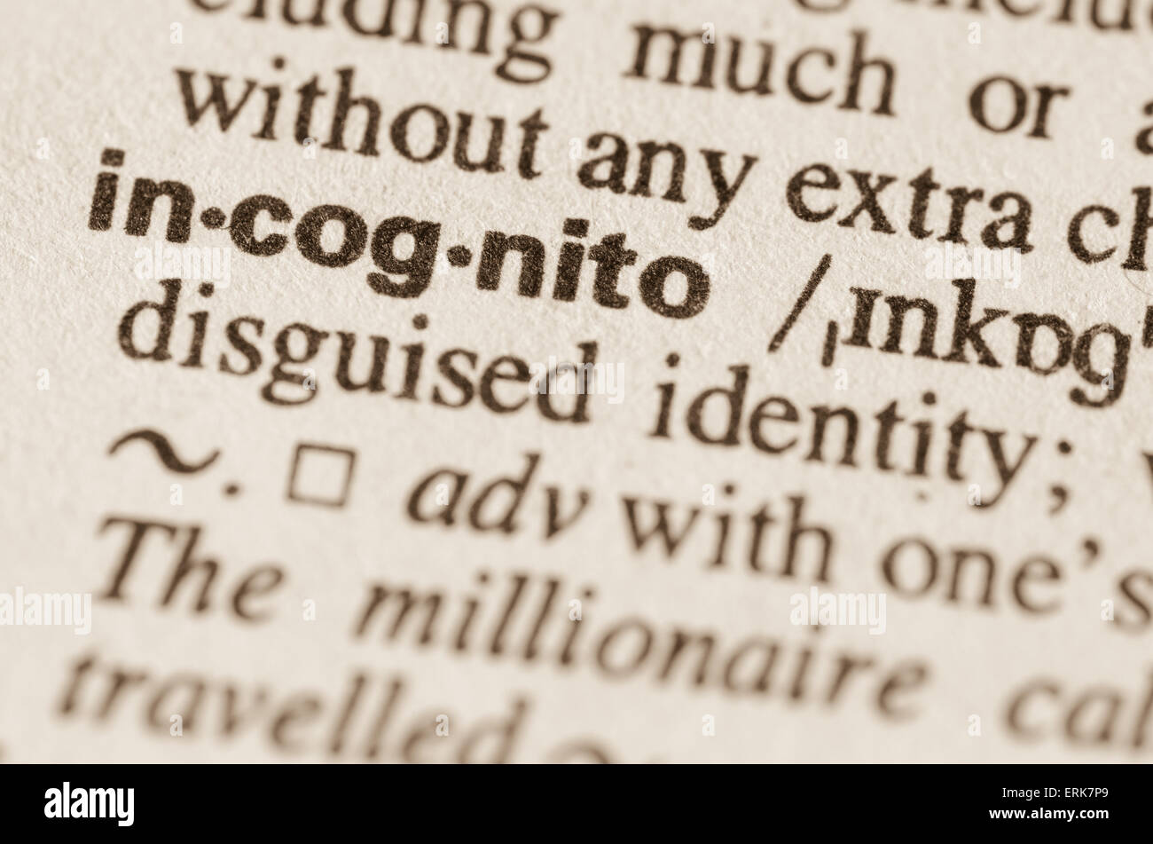 definition of word incognito in dictionary stock photo: 83401761 - alamy