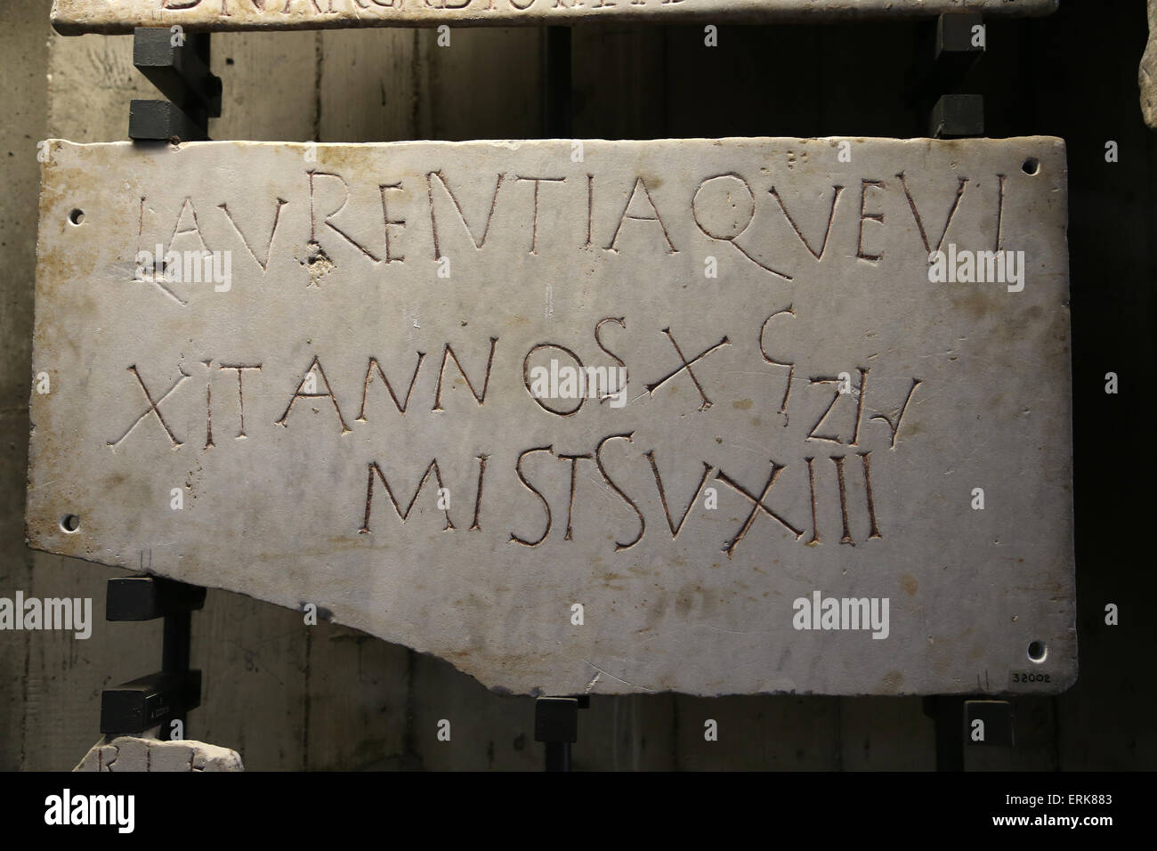 Roman tombstone. Early Christian. Latin inscription. Vatican Museums. - Stock Image