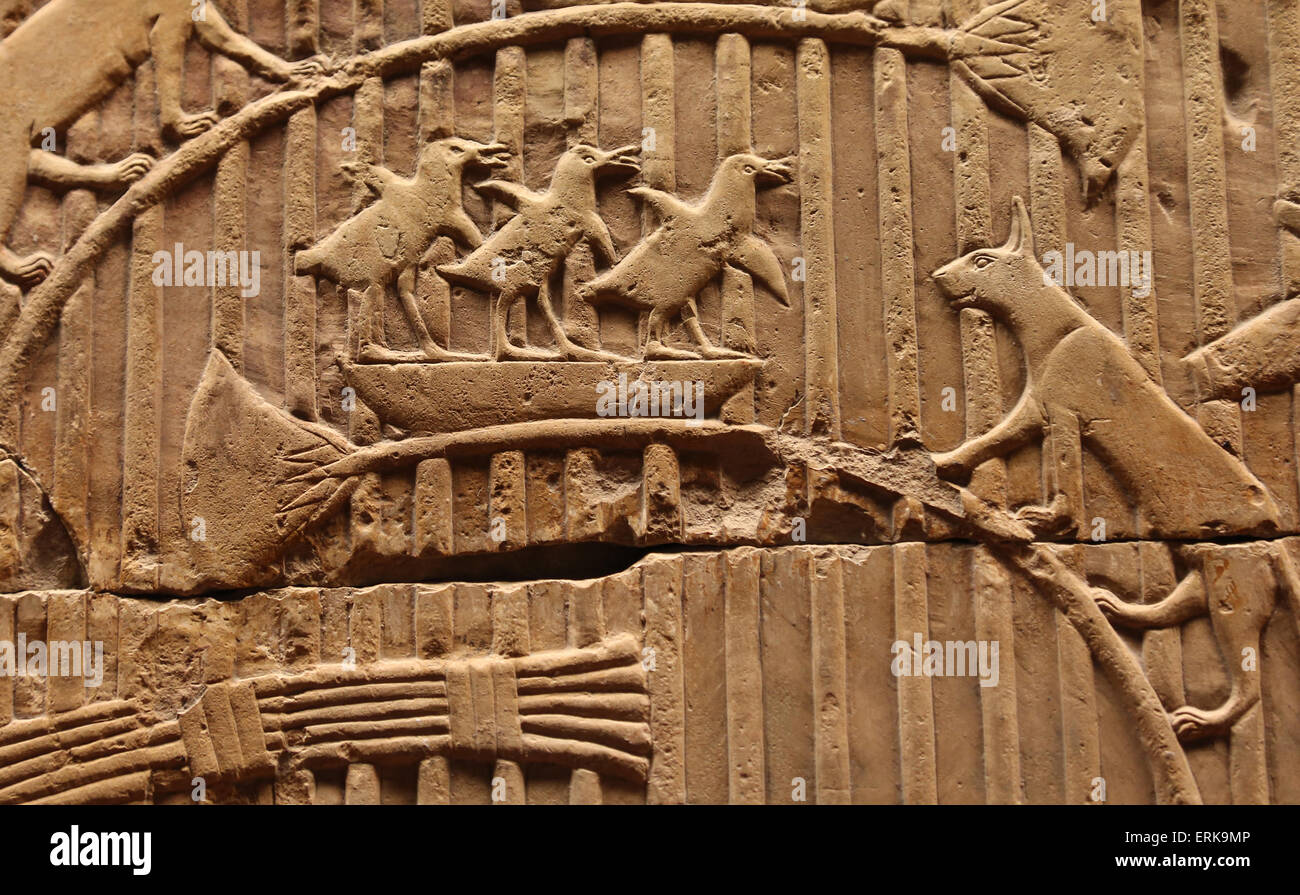 Fragment of tomb relief. Limestone. Thebes. 26 Dynasty (664-525 BC). Vatican Museums. - Stock Image