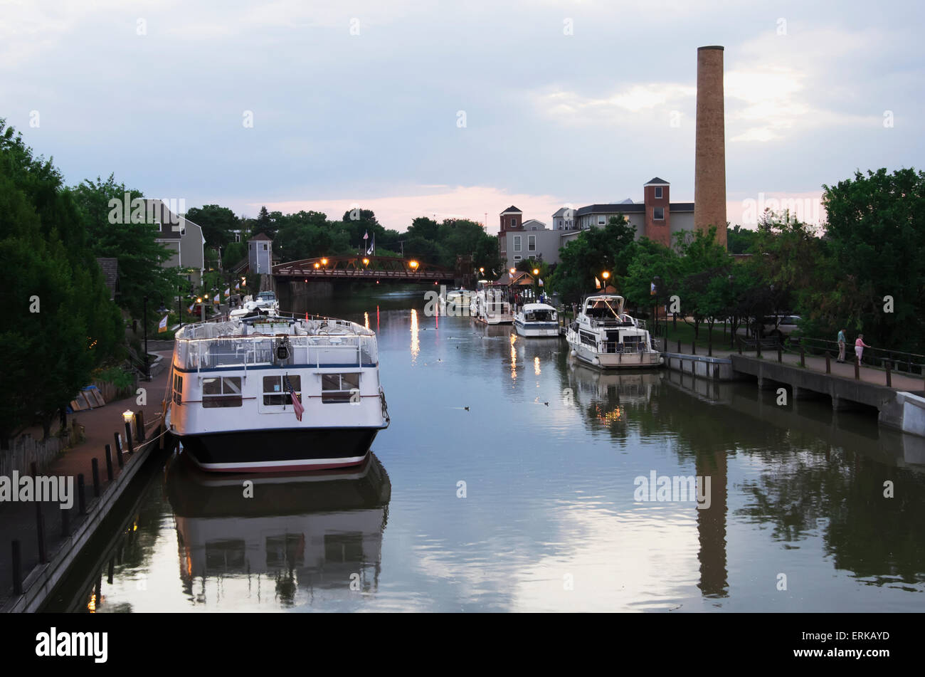 Canal,Boat,Moored,Bridge,Fairport,USA - Stock Image