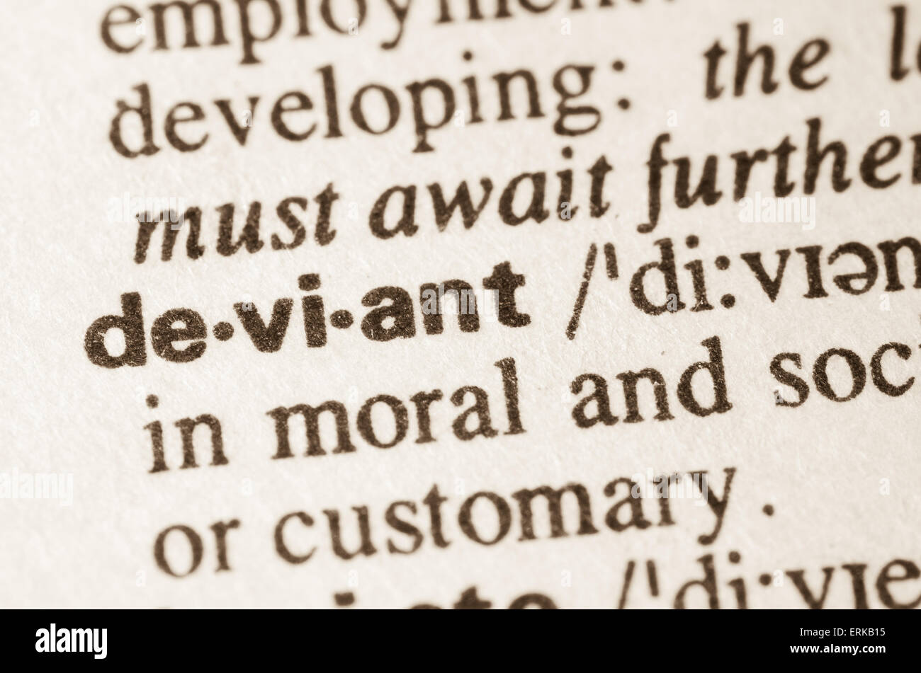Definition of word deviant  in dictionary - Stock Image