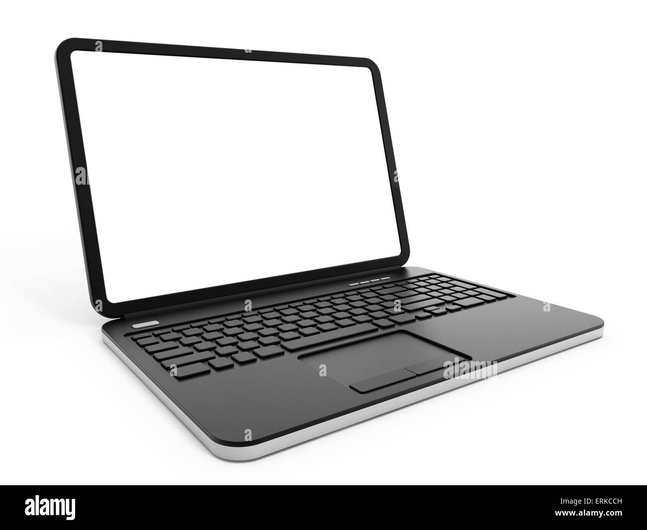 Laptop computer with blank screen isolated on white background. - Stock Image