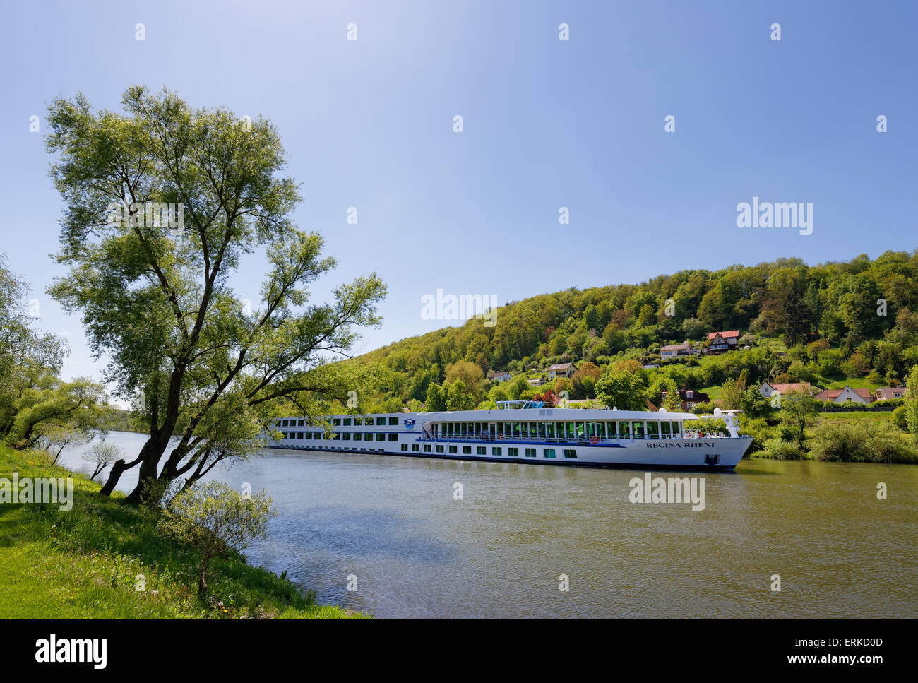 Hotel ship Regina Rheni on the Main river, Zimmern, near Marktheidenfeld, Rothenfels on the other side of the river, - Stock Image