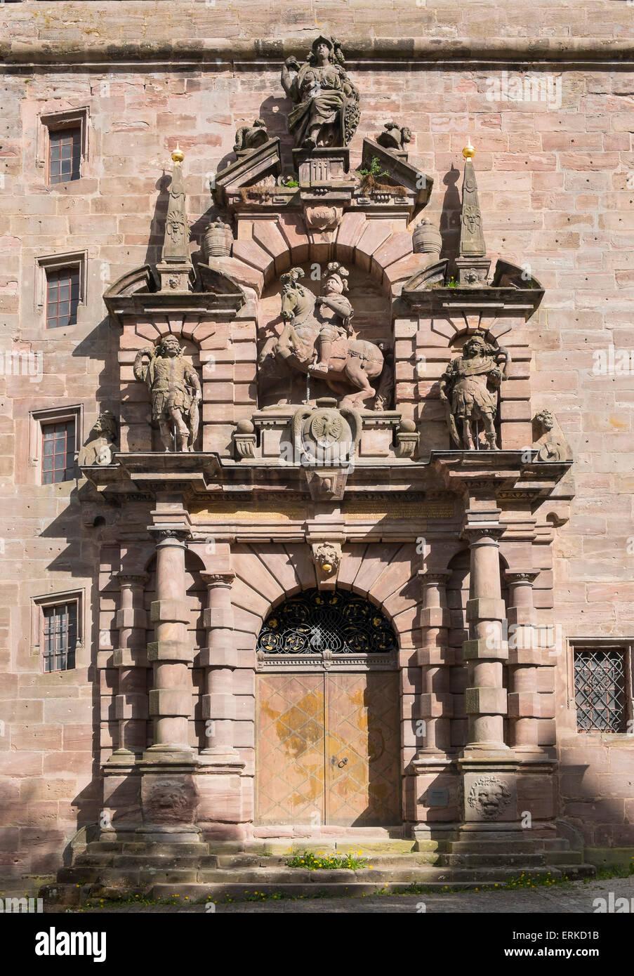 Christian's portal in the barrack, Plassenburg, Kulmbach, Upper Franconia, Franconia, Bavaria, Germany - Stock Image