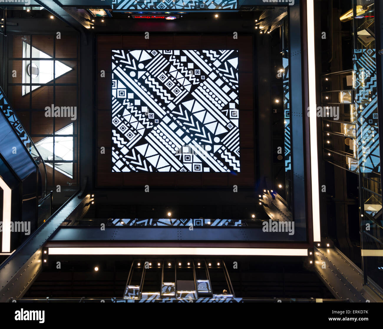 Decorative ceiling in the Siam Center, modern shopping mall, Siam Square, Bangkok, Thailand - Stock Image