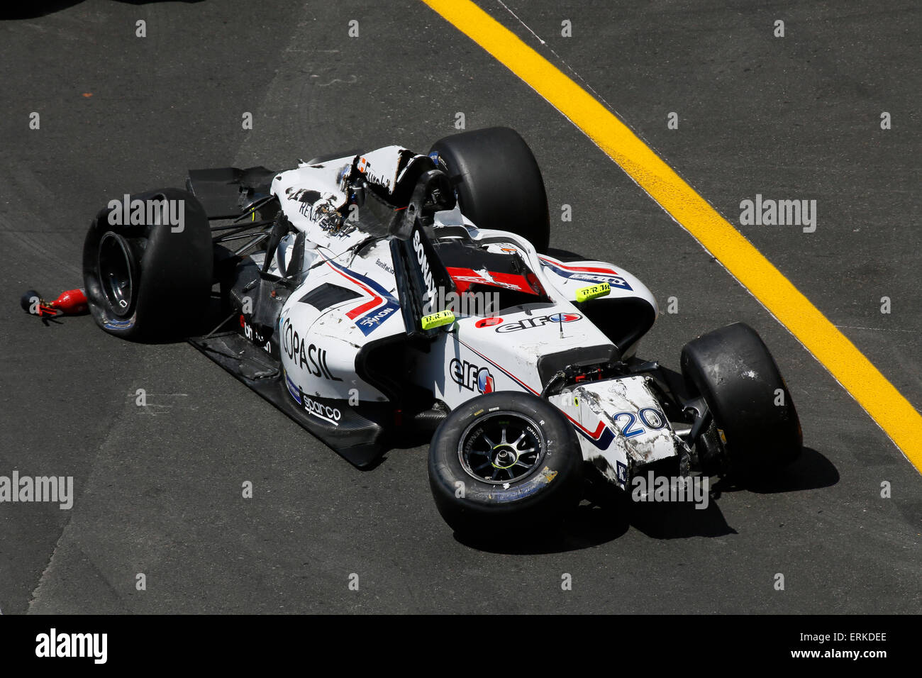 Race car after an accident, Formula 1 Grand Prix Monaco 2015 ,Principality of Monaco - Stock Image