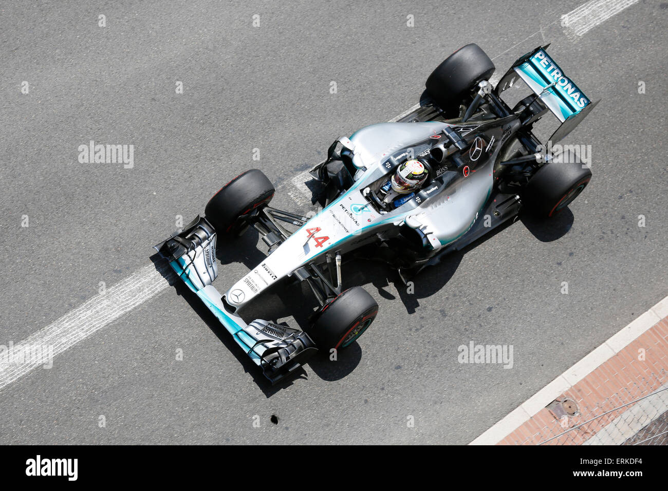 Mercedes racing car with Lewis Hamilton, Formula 1 Grand Prix Monaco 2015, Principality of Monaco - Stock Image