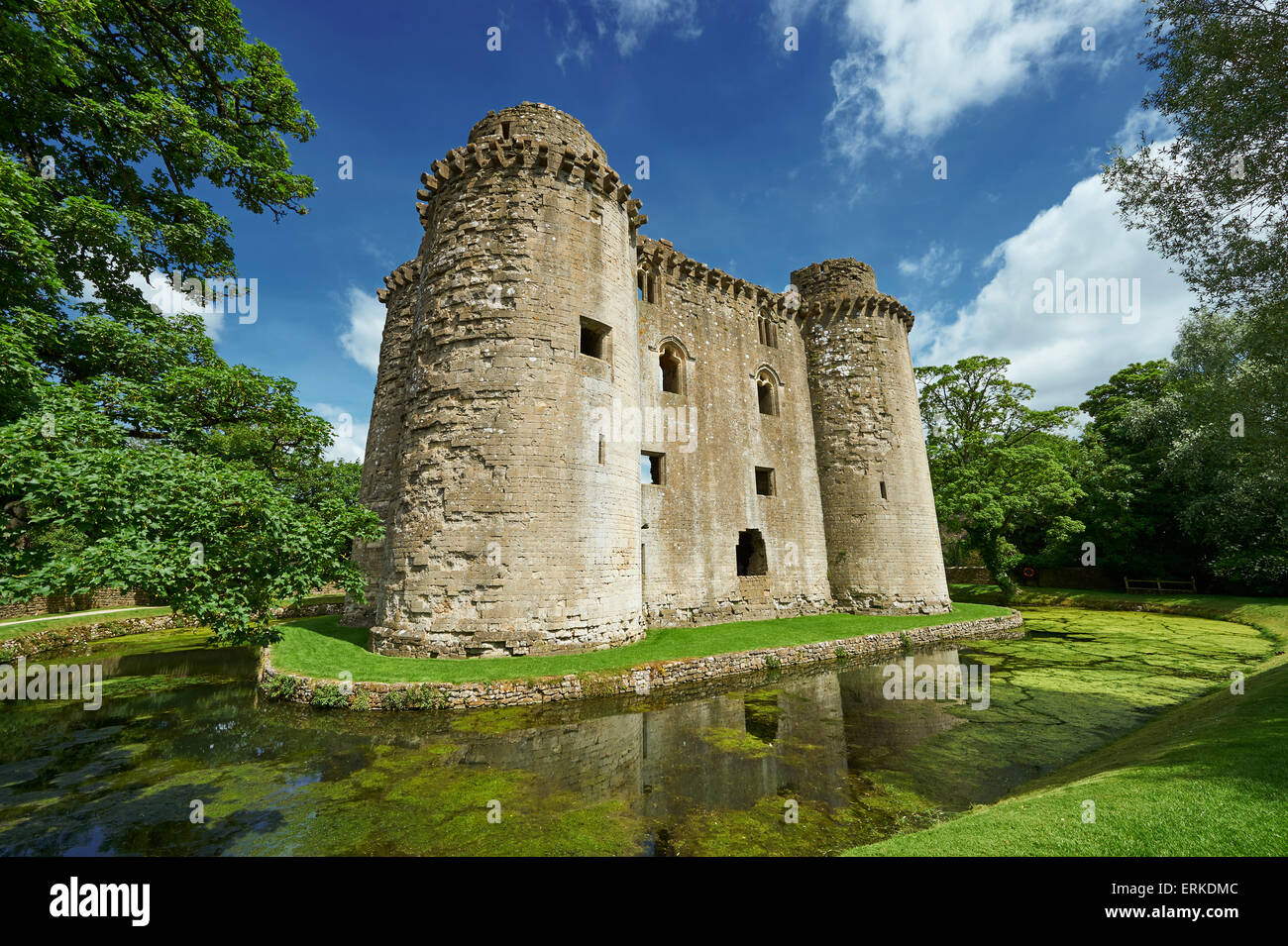 Nunney Castle built in the 1370s by Sir John de la Mere, Somerset, England, United Kingdom Stock Photo