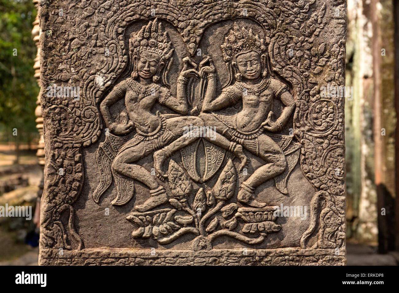 Dancing Apsaras, bas-relief, Bayon Temple, Angkor Thom, Siem Reap, Cambodia - Stock Image