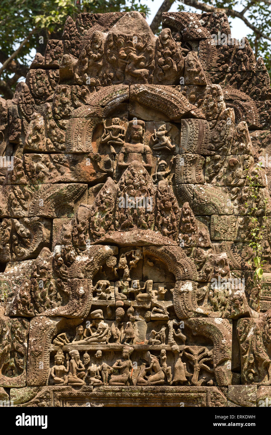 Library, relief on the gable, Ramayana epic, Chau Say Tevoda temple, Angkor, Siem Reap Province, Cambodia - Stock Image