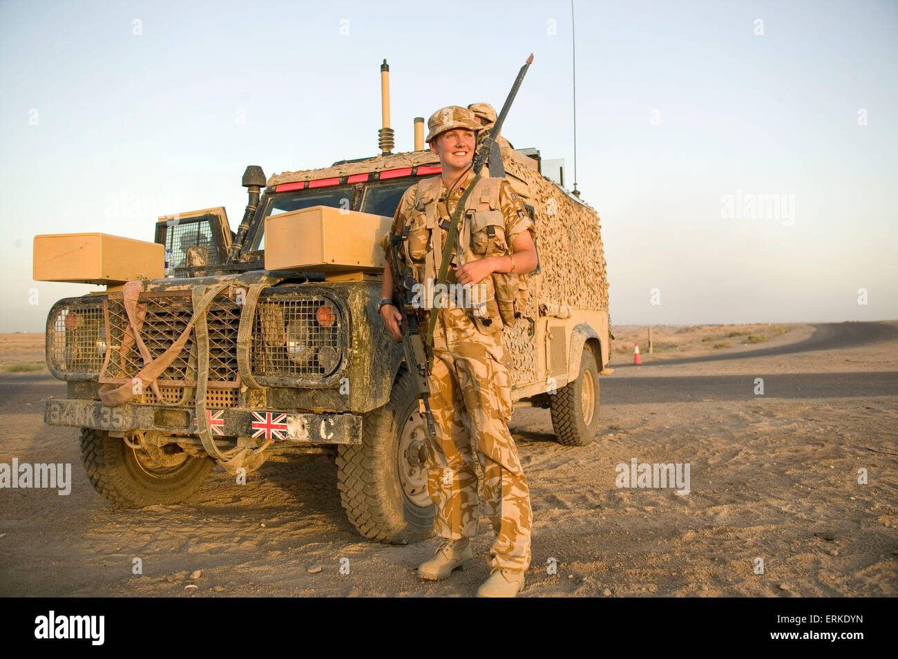 Victoria Wedgewood-Jones (Royal signals and the MOD media unit) on patrol with the 1st Battalion Devonshire and Dorset regiment. British Forces in Iraq.    Credit: Gary Calton / eyevine  For further information please contact eyevine tel: +44 (0) 20 8709 8709 e-mail: info@eyevine.com www.eyevine.com Credit: Gary Calton / eyevine  For further information please contact eyevine tel: +44 (0) 20 8709 8709 e-mail: info@eyevine.com www.eyevine.com Stock Photo
