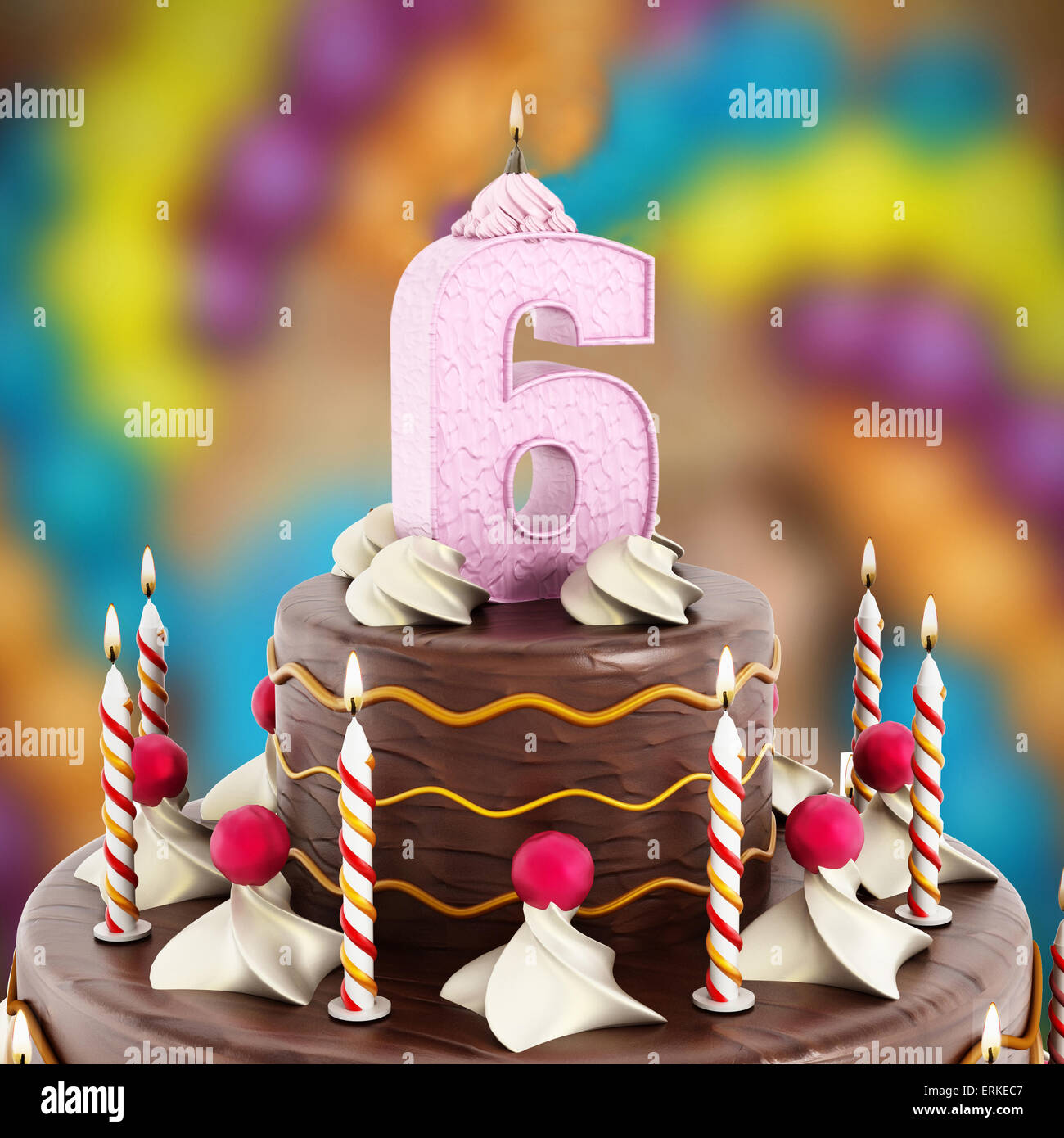 Birthday Cake With Number 6 Lit Candle Stock Photo 83406967 Alamy