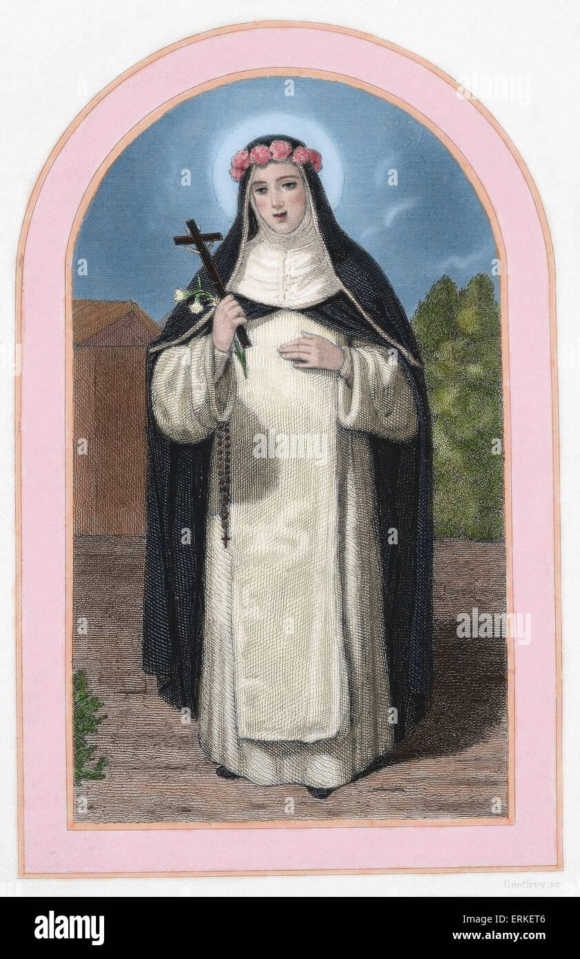 Saint Rose of Lime (1586-1617). Mystic tertiary Dominic. Colored engraving. 19th century. - Stock Image