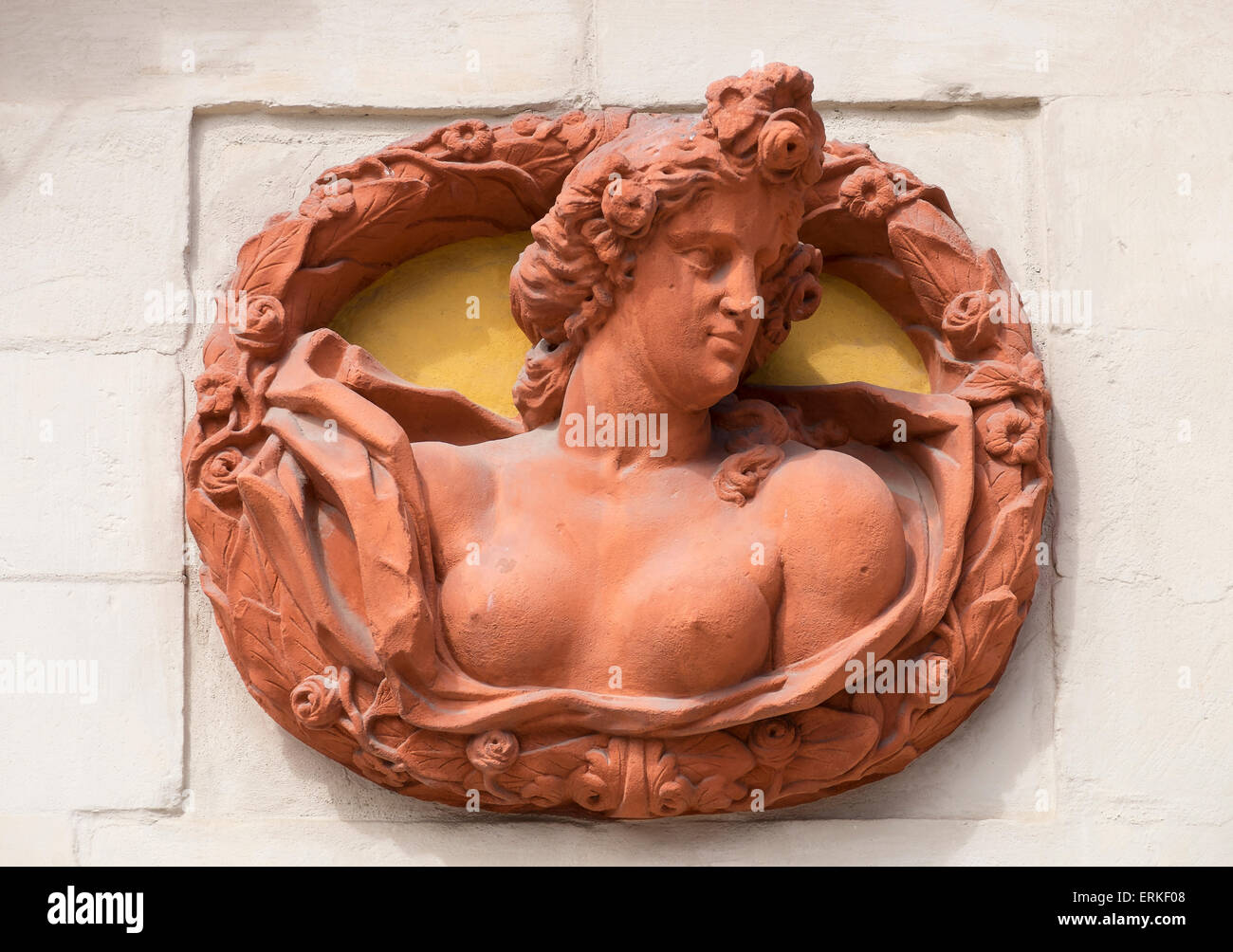 Relief medallion on the external facade of the old palace, Bayreuth, Upper Franconia, Franconia, Bavaria, Germany - Stock Image