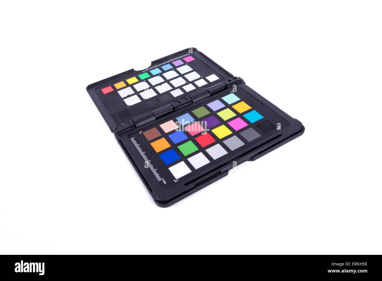 Close up view of color checker equipment of professional photographer for adjust and balance photograph, isolated Stock Photo