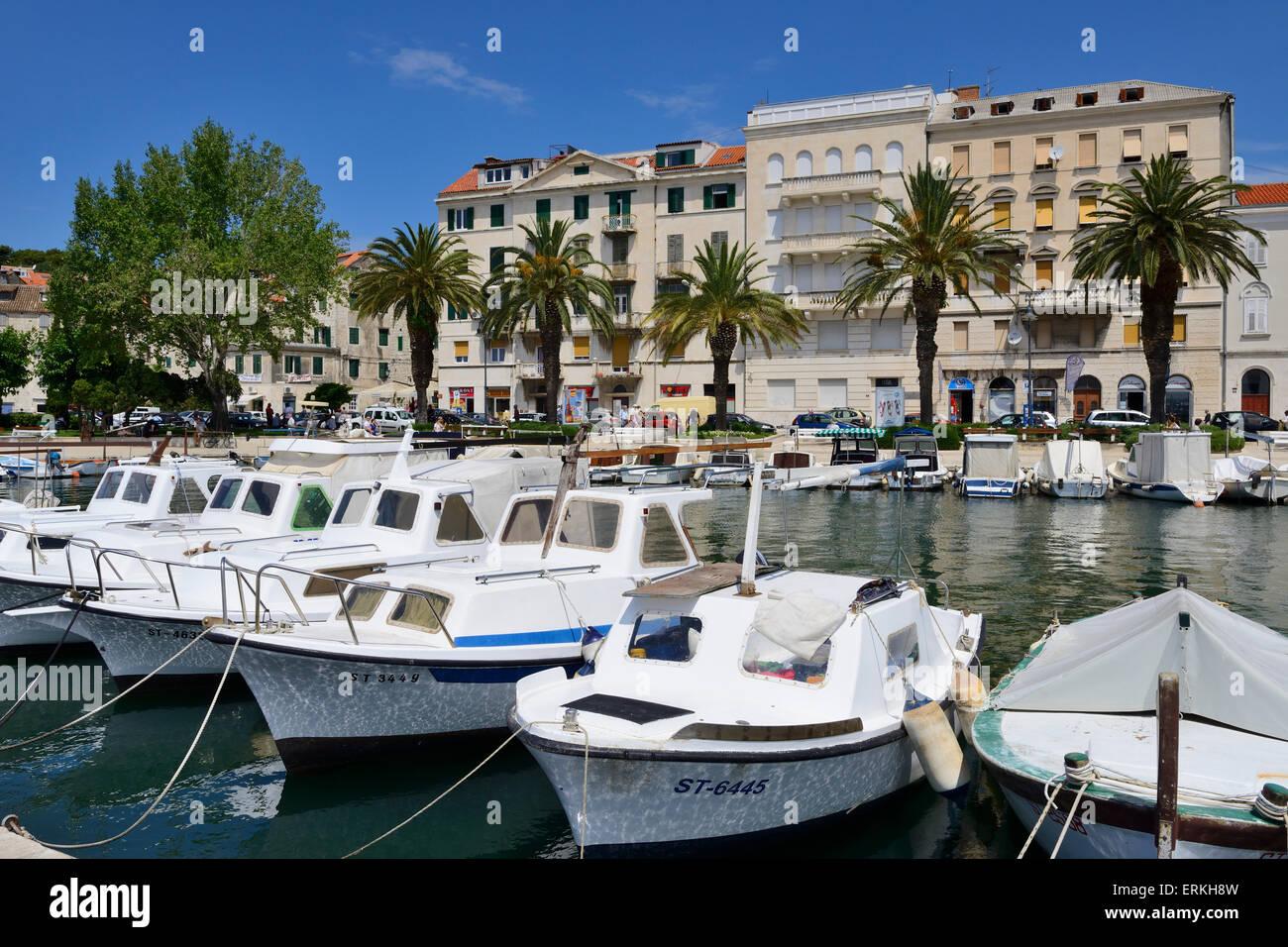Boats on seafront of Split on Dalmatian Coast of Croatia - Stock Image