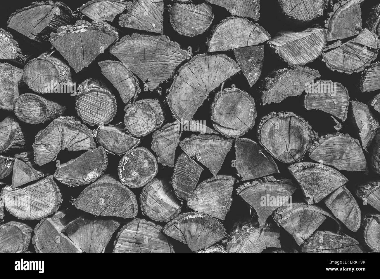 Firewood texture with nice tree cracks and tree rings in it. - Stock Image