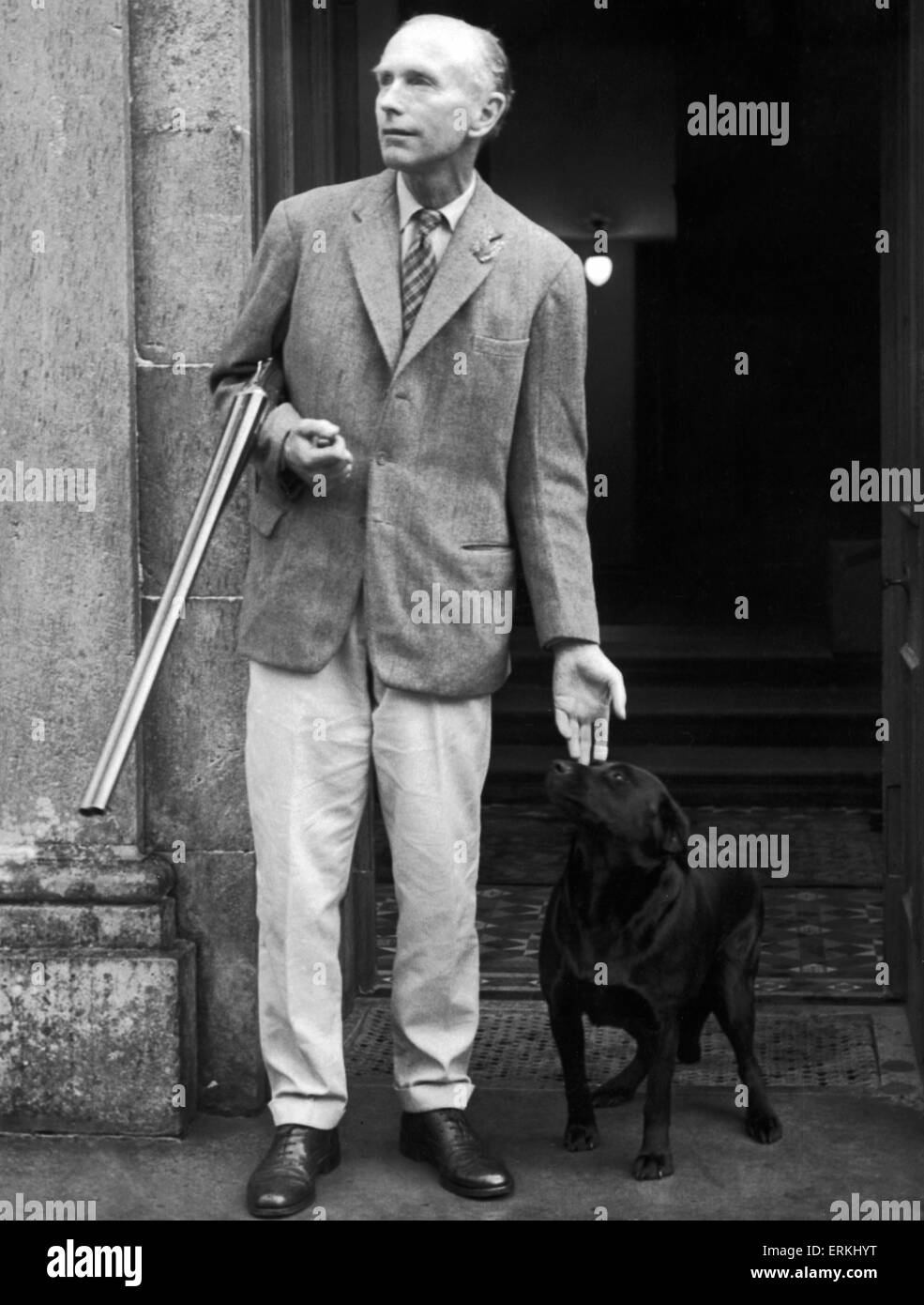 Prime Minister  Sir Alec Douglas Home seen here on the steps of Castlemains his Lanarkshire home. 19th August 1963 Stock Photo