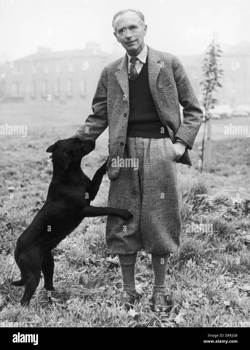 The Prime Minister Sir Alec Douglas Home seen here at his mansion in Coldstream, Berwickshire with his favourite - Stock Image