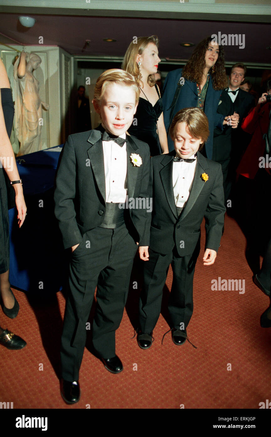Macaulay Culkin and his younger brother Kieran Culkin, pictured at The Video Awards on 17th October 1991 - Stock Image