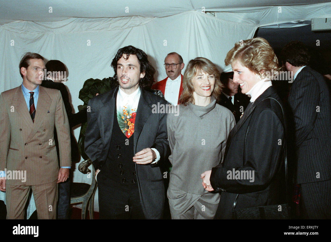 Musician Jean Michel Jarre and his wife Charlotte seen here meeting Princess Diana at the Royal Victoria Docks, - Stock Image