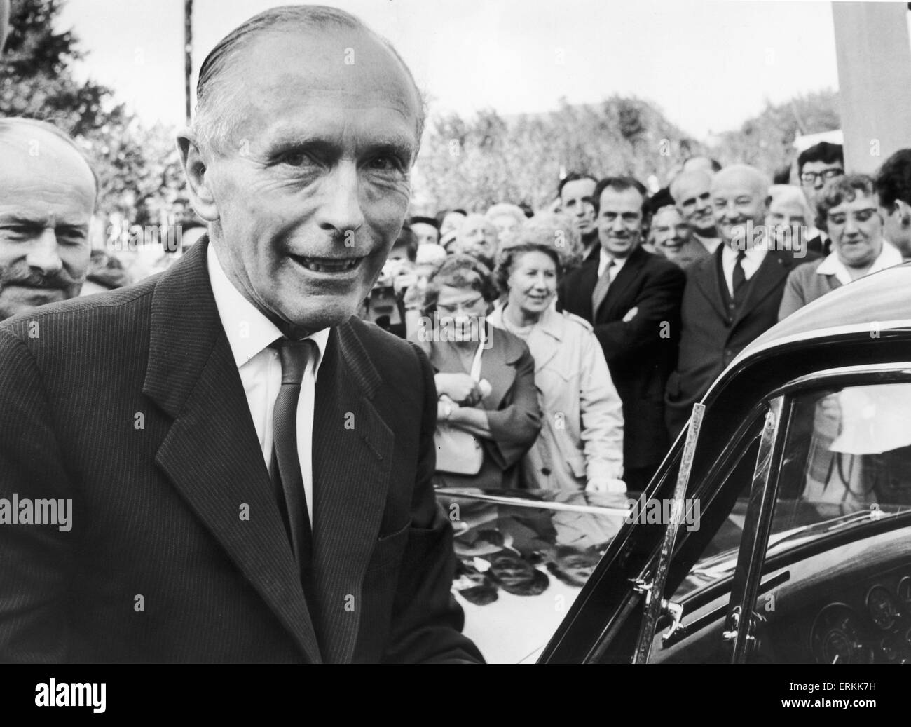 Sir Alec Douglas Home seen here on a whistle stop tour in London to speak at Wembley South during the General Election - Stock Image