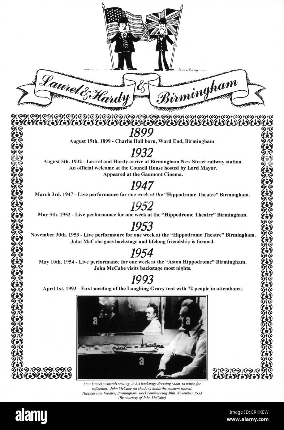 Programme of Laurel and Hardy performing in Birmingham through the years. Circa 1990 - Stock Image