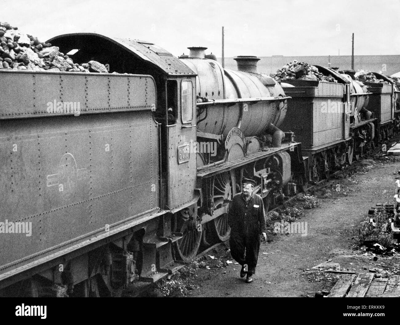 Out of service Kings class locomotives pictured at Stafford Road depot in Wolverhampton. September 1962. - Stock Image