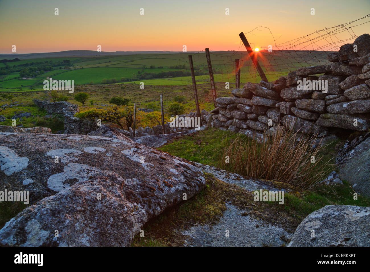 Last light falling on Bodmin moor at the end of another day - Stock Image