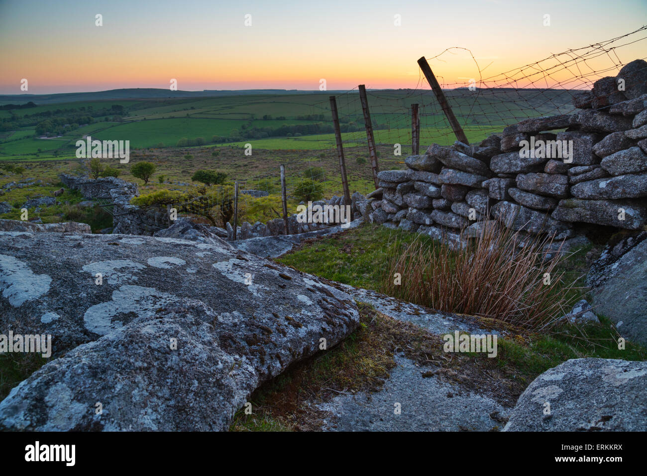 Bodmin moor has the sun sets on another day looking towards Brown Willy the roof of Cornwall - Stock Image