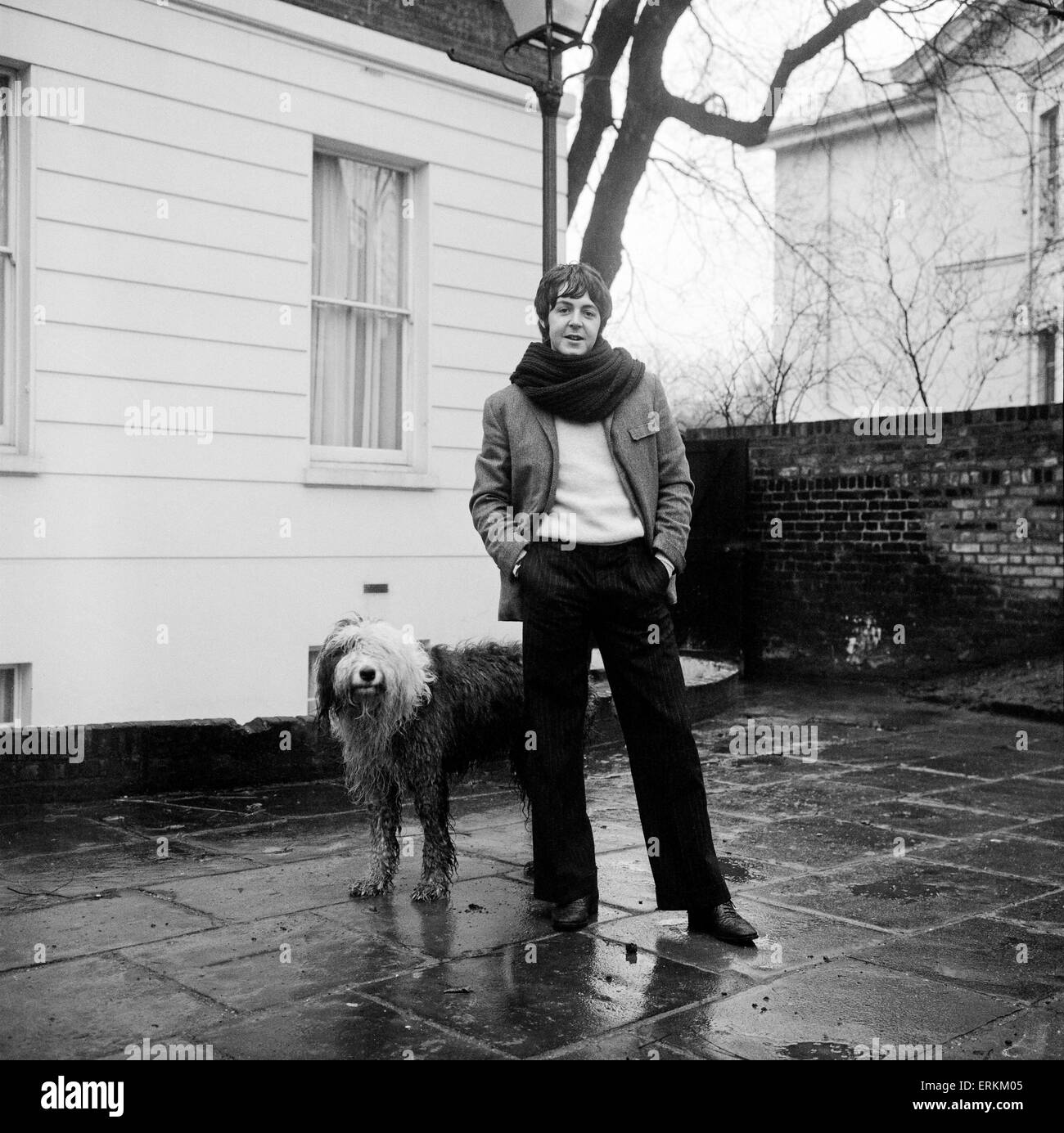 Paul McCartney Seen Here Outside His Home In St Johns Wood With Dog Martha