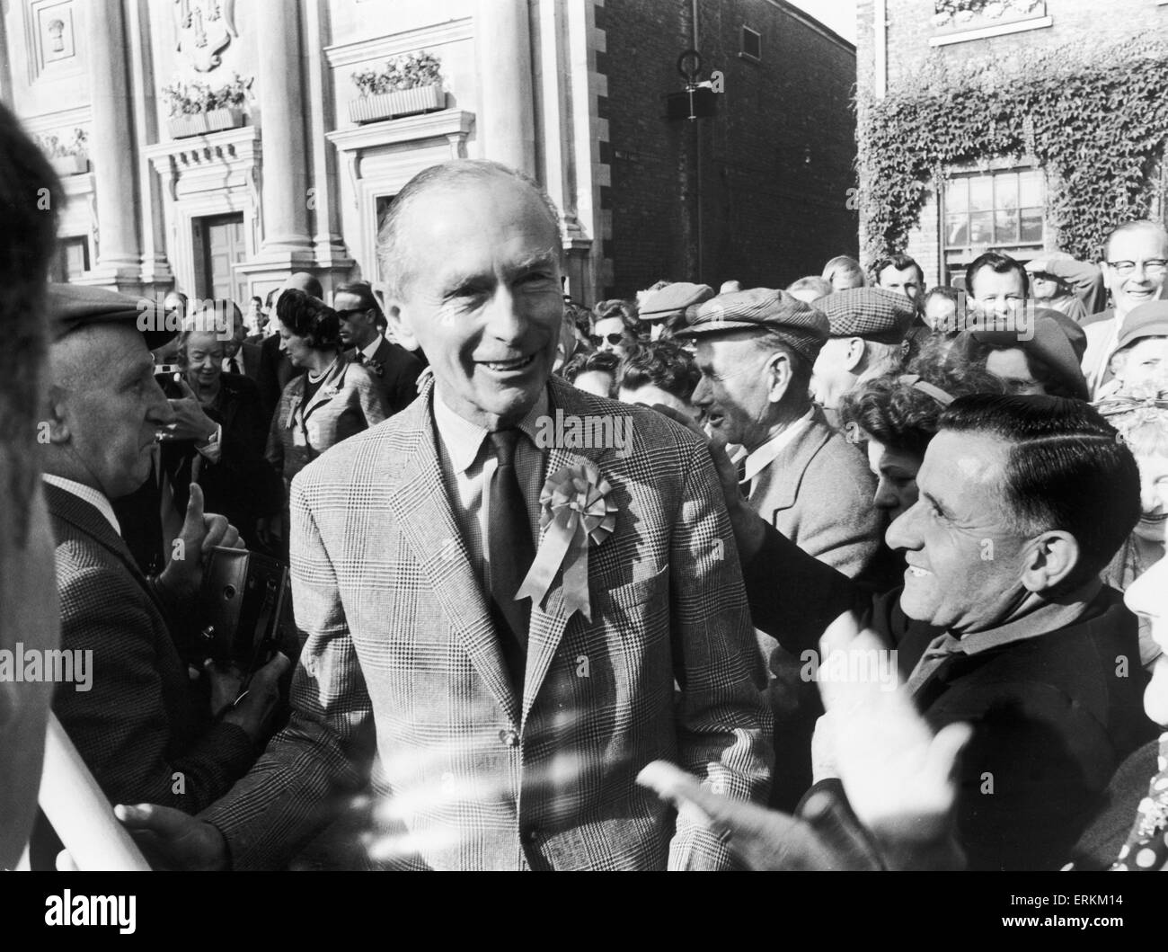 Prime Minister Sir Alec Douglas Home seen here in Kings Lynn during a general election tour of East Anglia. 29th - Stock Image