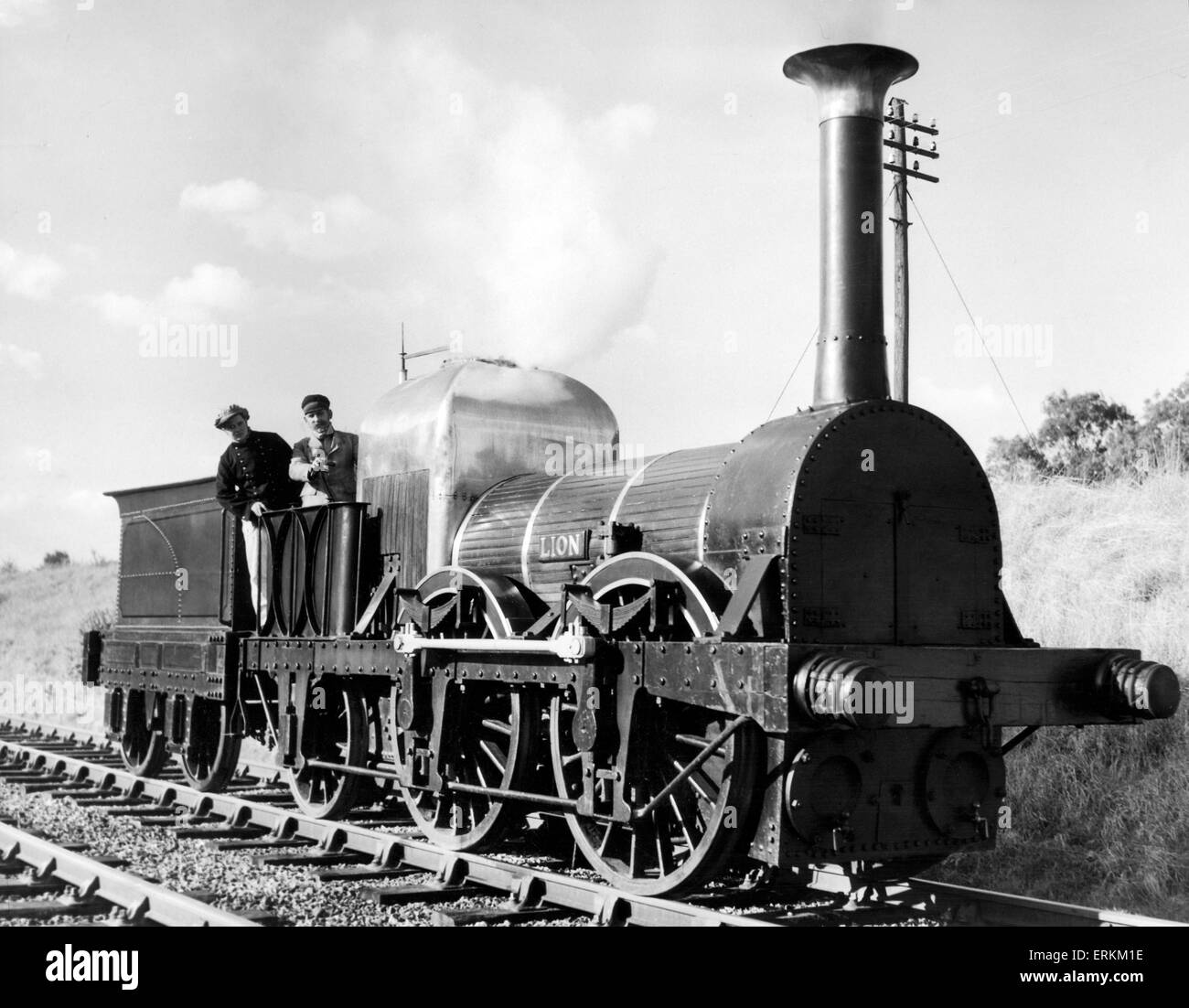 The 123 year old  Liverpool and Manchester Railway (LMR) 57 Lion steam locomotive, comes out of retirement from - Stock Image