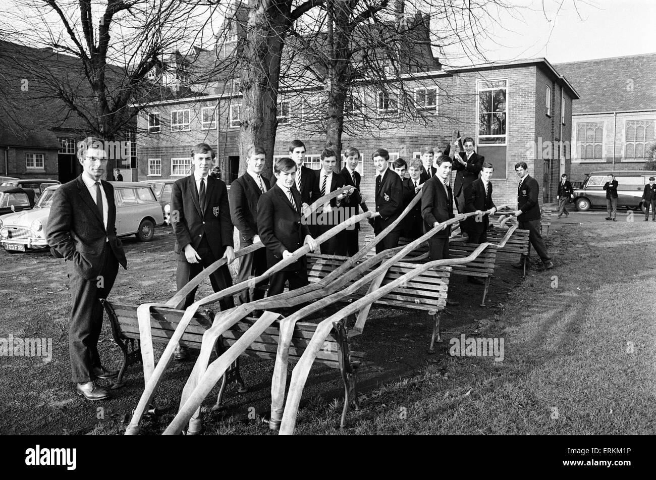 Warwick School fire brigade, 13th December 1966. - Stock Image