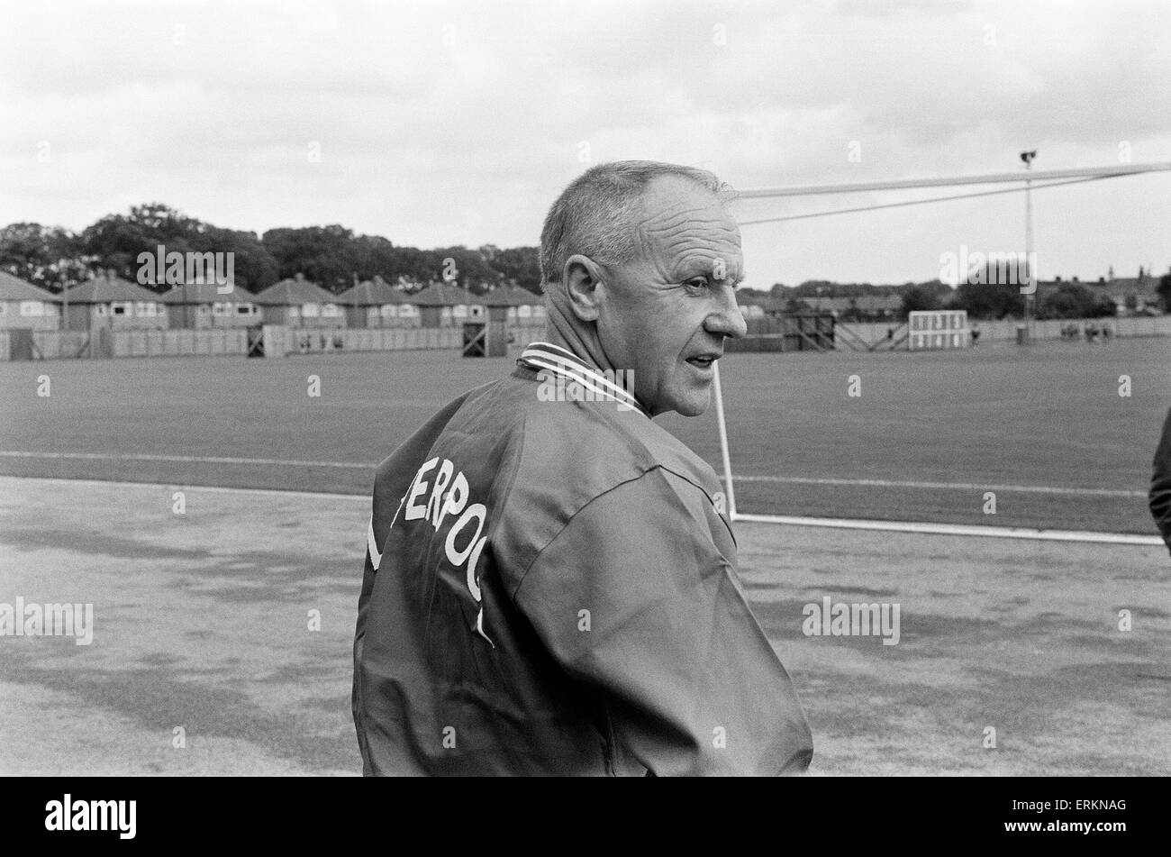 Liverpool manager Bill Shankly takes charge of a training session as the team are recalled for preseason training - Stock Image